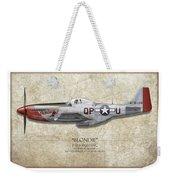 Blondie P-51d Mustang - Map Background Weekender Tote Bag