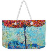 Blooming Beyond Known Skies - The Tree Of Life - Abstract Contemporary Original Oil Painting Weekender Tote Bag by Ana Maria Edulescu