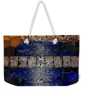 Blue And Gold Stained Abstract Weekender Tote Bag