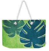 Blue And Green Palm Leaves Weekender Tote Bag