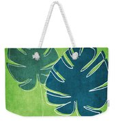Blue And Green Palm Leaves Weekender Tote Bag