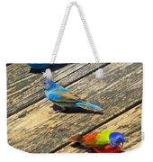 Blue And Indigo Buntings - Three Little Buntings Weekender Tote Bag