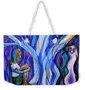 Blue And Purple Girl With Tree And Owl Weekender Tote Bag