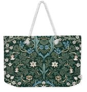 Blue And White Flowers On Green Weekender Tote Bag