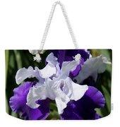 Blue And White Iris Weekender Tote Bag