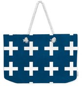 Blue And White Plus Sign Weekender Tote Bag