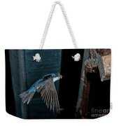 Blue And White Swallow Weekender Tote Bag