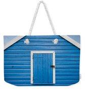 Blue Beach Hut Weekender Tote Bag