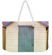 Blue Beach Hut Weekender Tote Bag
