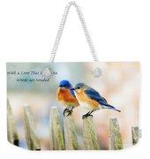 Blue Bird Love Notes Weekender Tote Bag by Scott Pellegrin
