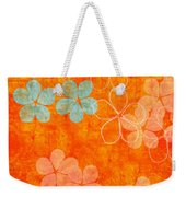 Blue Blossom On Orange Weekender Tote Bag