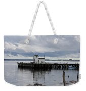 Blue Boat On The Wharf Weekender Tote Bag