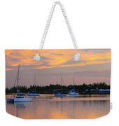 Blue Boats At Sunset Weekender Tote Bag