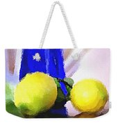 Blue Bottle And Lemons Weekender Tote Bag by Ben and Raisa Gertsberg