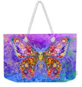 Blue Butterfly Floral Weekender Tote Bag by Alixandra Mullins