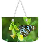 Blue Butterfly In The Green Garden Weekender Tote Bag