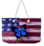 Blue Butterfly On American Flag Weekender Tote Bag