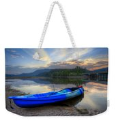 Blue Canoe At Sunset Weekender Tote Bag
