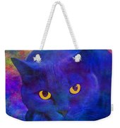 Blue Cat Ponders Weekender Tote Bag