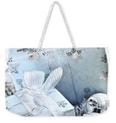 Blue Christmas Gift Boxes Weekender Tote Bag