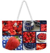 Blue Dishes And Fruit Collage Weekender Tote Bag