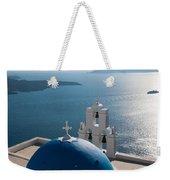 Blue Domed Church In Santorini Greece Weekender Tote Bag
