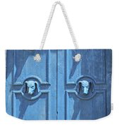 Blue Door Decorated With Wooden Animal Heads Weekender Tote Bag