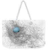 Blue Egg In Bird Nest Monochrome Weekender Tote Bag