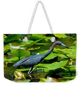 Reddish Egret Among The Lily Pads Weekender Tote Bag