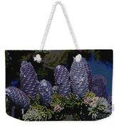 Blue Fir Cones 2 Outlined Weekender Tote Bag