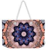 Blue Flora Mandala Weekender Tote Bag