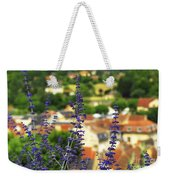 Blue Flowers And Rooftops In Sarlat Weekender Tote Bag by Elena Elisseeva