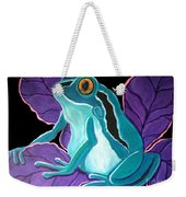 Blue Frog Purple Flower Weekender Tote Bag
