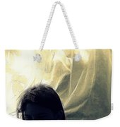 Blue Girl With Curtain  Weekender Tote Bag