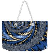 Blue Gold Spiral Abstract Weekender Tote Bag