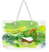 Blue Grape Hyacinths With Red Tulips And Tree Stump Weekender Tote Bag