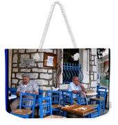 Blue Greek Taverna Weekender Tote Bag
