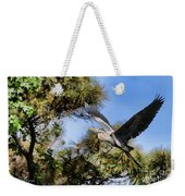 Blue Heron In The Trees Oil Weekender Tote Bag