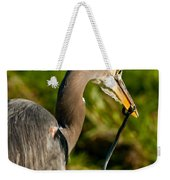 Blue Heron With A Snake In Its Bill Weekender Tote Bag
