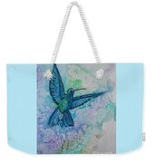 Blue Hummingbird In Flight Weekender Tote Bag