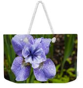Blue Iris Flower Raindrops Garden Virginia Weekender Tote Bag