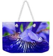 Blue Iris Rain Drops Weekender Tote Bag