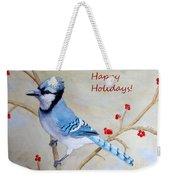 Blue Jay Happy Holidays Weekender Tote Bag