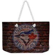 Blue Jays Baseball Graffiti On Brick  Weekender Tote Bag by Movie Poster Prints