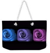 Blue Lavender Violet Roses Triptych Weekender Tote Bag