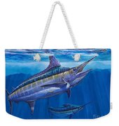 Blue Marlin Bite Off001 Weekender Tote Bag by Carey Chen