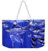Blue Marlin Round Up Off0031 Weekender Tote Bag by Carey Chen