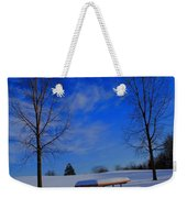 Blue On A Snowy Day Weekender Tote Bag