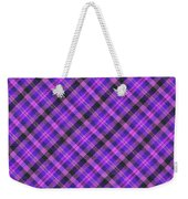 Blue Pink And Black Diagnal Plaid Cloth Background Weekender Tote Bag