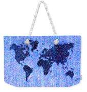 Blue Pointillist World Map Weekender Tote Bag